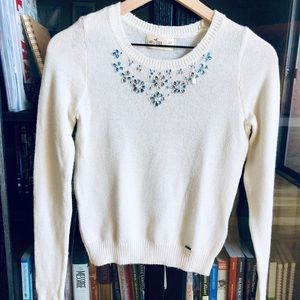 Hollister jeweled-front sweater — size XS